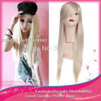 Free Shipping 1PCS 70cm Stylish BLonde Fashion Long Straight Synthetic Halloween Costome Cosplay Wigs Kanekalon U Part Wig