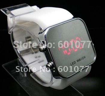 Sales promotion Wholesale free shipping Fashion silicone LED mirror silicone watch.Led wrist watch,11 color available.Hot sell