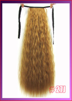 "22""(55cm) 90g kinky curly ribbon ponytail hairpiece hair pieces clip in hair extensions color #27J Honey Blonde"