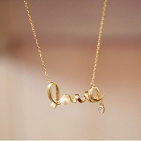 Fashion gold color chic  love  word chain necklace .Free Shipping ! wholesale !