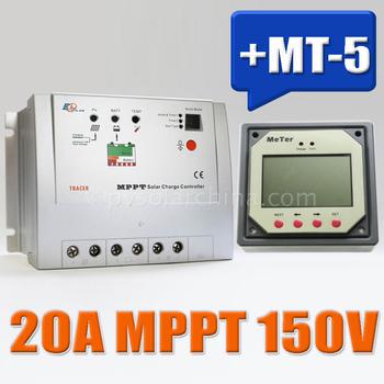100% Real MPPT 20A Solar Charge controller Tracer 2215RN with MT5 remote meter, 20amps 150VDC MPPT Solar regulator solar system