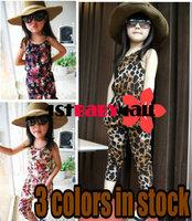 [1st Baby Mall] Retail 1pc New 2014 summer fashion baby girls jumpsuit flower Leopard baby girls vest one-piece girls rompers
