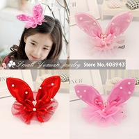 Free Shipping 6Pcs/lot New fashion sinamay party Hair Accessories/Pearl Rabbit ears bow hair clips/Lovely baby hairpins FJ42517