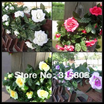 Artificial Silk Rose Vine with 48 Heads / Wedding Vine Plant decoration / home courtyard decorations 2pcs / lot 220 CM  FL017