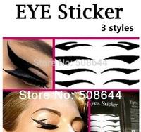 3 sets/lot Eye Tattoo Eye liner Sticker Shadow Smoky Eyes black eyeliner 4 pairs per set topwin free shipping