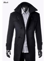 Free shipping 2013 wholesale Mens wool Premium Long Slim Fit Coat outerwear winter cotton double-breasted warm wind jacket