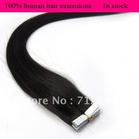 In stock Free shipping 18'' 20'' remy Tape Skin Weft human hair extensions 40g 50g  #1B natural black kinda brown