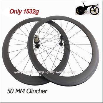 Only 1390g Super light 50mm clincher bicycle carbon wheels 700c Carbon fiber road bike wheelset Powerway R13 Hub V Brake