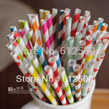 High quality strip chevron and Polka Dot 1000 pcs drinking paper straw colorful drink strip paper straws