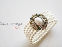 Trendy exquisite gem rhinestone pearl bracelet  Fashion European style