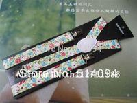 2 PC/lot  Fashion women suspenders Clip-on Unisex Pants Y-back pastoral wind fresh gallus Elastic