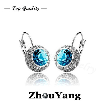 ZYE076 Blue Moon in River 18K Platinum Plated Hoop Earrings Jewelry Made with Genuine  Austrian Crystal Wholesale