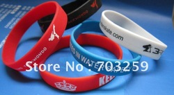 500pcs custom texts & logo rubber silicone wristband for promotion gifts EG-WBP001,silicone barcelets with solid color printting(China (Mainland))