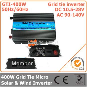 400W Grid Tie Inverter, 10.5-28V DC to AC 90-140V Pure Sine Wave Inverter for 400-480W 18V PV Module or Wind Turbine