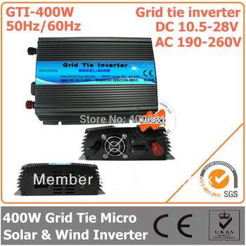 400W DC10.5V~28V AC190V-260V 50Hz/ 60Hz Grid Tie Pure Sine Wave Micro Inverter for 480W Solar & Wind Power System