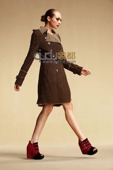 2013 Women Fashion Genuine  Lamb Fur Coat  With Belt Long style  Winter Outwear Garment   QD6336