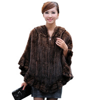 Knitted mink fur shawl hooded mink  fur poncho with zipper mink fur cape  wholesale direct deal from factory
