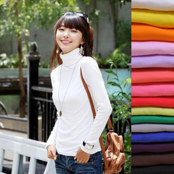 new arrival Women's autumn  velvet turtleneck long-sleeve basic shirt white solid color sweater free shipping
