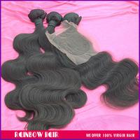Brazilian hair body wave closure with hair bundles 4pcs lot human hair extension natural color