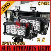 Free DHL Shipping 2PCS 12pcs*3w 36W CREE LED Light Bar Off road Truck SUV 4WD LED Driving light Fog Light LED Work Light Bar 72W