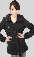 wholesale 4pces spring autumn black purple women female ladies four pockets coat jacket coats outwear top good quality WM06807