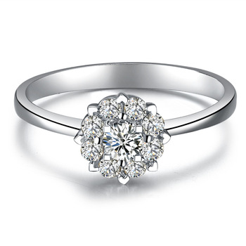 "ZOCAI DROWN IN LOVE ""1.5 CARAT EFFECT"" 0.3 CT CERTIFIED I-J / SI DIAMOND ENGAGEMENT RING ROUND CUT 18K WHITE GOLD"