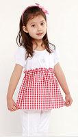 Freeshipping summer black red plaid Children Girl Kids baby sweet short sleeve shirt / blouse with hem clothing top PDXZ01P12
