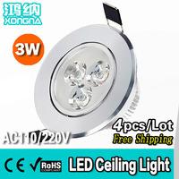Free Shipping 4pcs/Lot 3W Ulta Bright LED Ceiling Lights AC90~260V Light Colors Warm White(3000~3200K)/Cold White(6000~6500K)