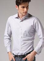 Freeshipping Autumn winter white striped man gentleman men's Business casual  slim fit stylish cotton shirt top FZ-M002-F140ST3