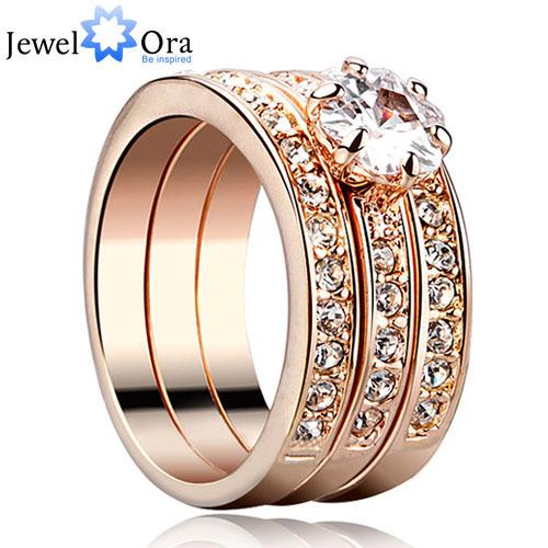 Hot Party Ring Italina Style Gold Plated Sets Charm Jewelry For Women Rhinestone Rings Set (3 Pcs) (JewelOra Ri100610)(China (Mainland))