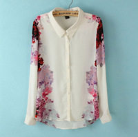 Women Casual Flower prints Chiffon Shirts fashion Blouse SW2007-I02