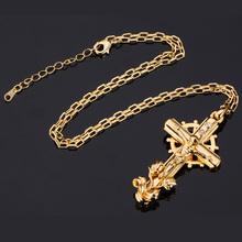 Crucifix Necklace Women Men Jewelry Jesus Religious Gift Trendy 18K Real Gold Platinum Plated Rhinestone Cross