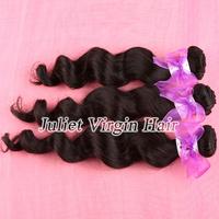 Free Shipping 6A Unprocessed Malaysian Virgin Hair Loose Wave 3pcs lot Juliet Hair Extensions Natural Black Color No.MA60-081