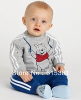 baby suit baby boy suit  outfits: grey long-sleeved top + striped blue pants/ Made of cotton/ Sport set Boy suit