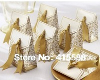 Wholesale 100pcs/lot Gold or Silver color Wedding Favor Candy boxes with Ribbon Wedding Party Gift Box
