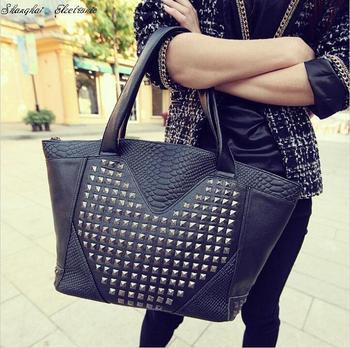 Hot!! crocodile pattern rivet bag shoulder bags women's handbag messenger bag free shipping