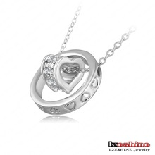 Double Necklaces Pendants 18K Rose Gold Platinum Plated Austrian Crystal Circle Heart Necklace Mix Colors Options