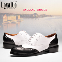 LoyalCo New Style Classic Brogues Women's Genuine Leather Flats Oxfords Black Casual Lace Up Alise