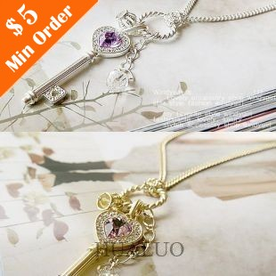 Korean Version of Paragraph Amethyst Love Golden Crown Key Chain Necklace N502 N503