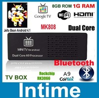 MK808B Bluetooth Mini PC RockChip RK3066 Dual Core Cortex-A9 1.6GHz 1GB  8GB Android 4.1 Android TV MK808 II vs UG802 mk802 III