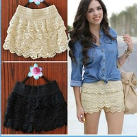 free shipping  Women's multi-layer lace cutout crochet shorts solid color sexy safety pants basic skirt pants
