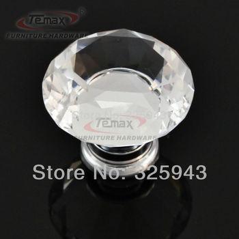 2PCS 40MM Clear Glass Crystal Kitchen Cabinets Dresser Knobs Drawer Pulls Furniture Bedroom