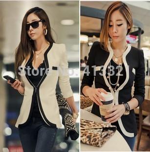 Big Size New 2014 Women's Spring Autumn Blazer OL V-neck White Black Color Block Plus Size Jacket XL XXL Wholesale Price Hot