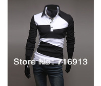 2014 Spring New Mens Slim Stylish Clothing Fit Men Casual Shirts Long Sleeve T-shirts Tee 2 Colors 4 Size Free Shipping3627