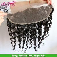 Berrys Fashion  Virgin Hair Brazilian deep wave lace frontal bleached knots, 13*4 size 3 way part top closure