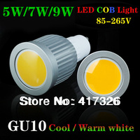 Best GU10 5W/7W/9W COB dimmable LED Spot Light Bulbs Lamp Warm White/Cool White High Brightness Epistar LED