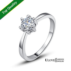 1 CT Brilliant Cut Clear 5.5mm Cubic Zirconia Solitaire 2g Sterling Silver Ring US Big Size Silver Ring 4,5,6,7,8,9,10,11,11.5(China (Mainland))