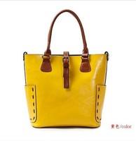 Promotion 2013 Fashion women's Cowhide Bucket Handbag 100%Genuine Leather Handbag Candy Bag Shoulder Shopping Crossbody Tote bag