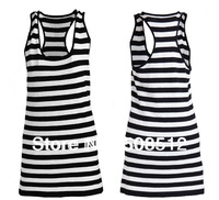 TT-012 FREE SHIPPING WOMEN BASIC STRIPE  LONG DRESS T-SHIRT, TANK TOPS, SINGLET