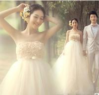 2014 New Fashionable vestido noiva Dress Bride Woman High Quality Tube Top Wedding Dress Pregnant Can Wear Gift  Veil